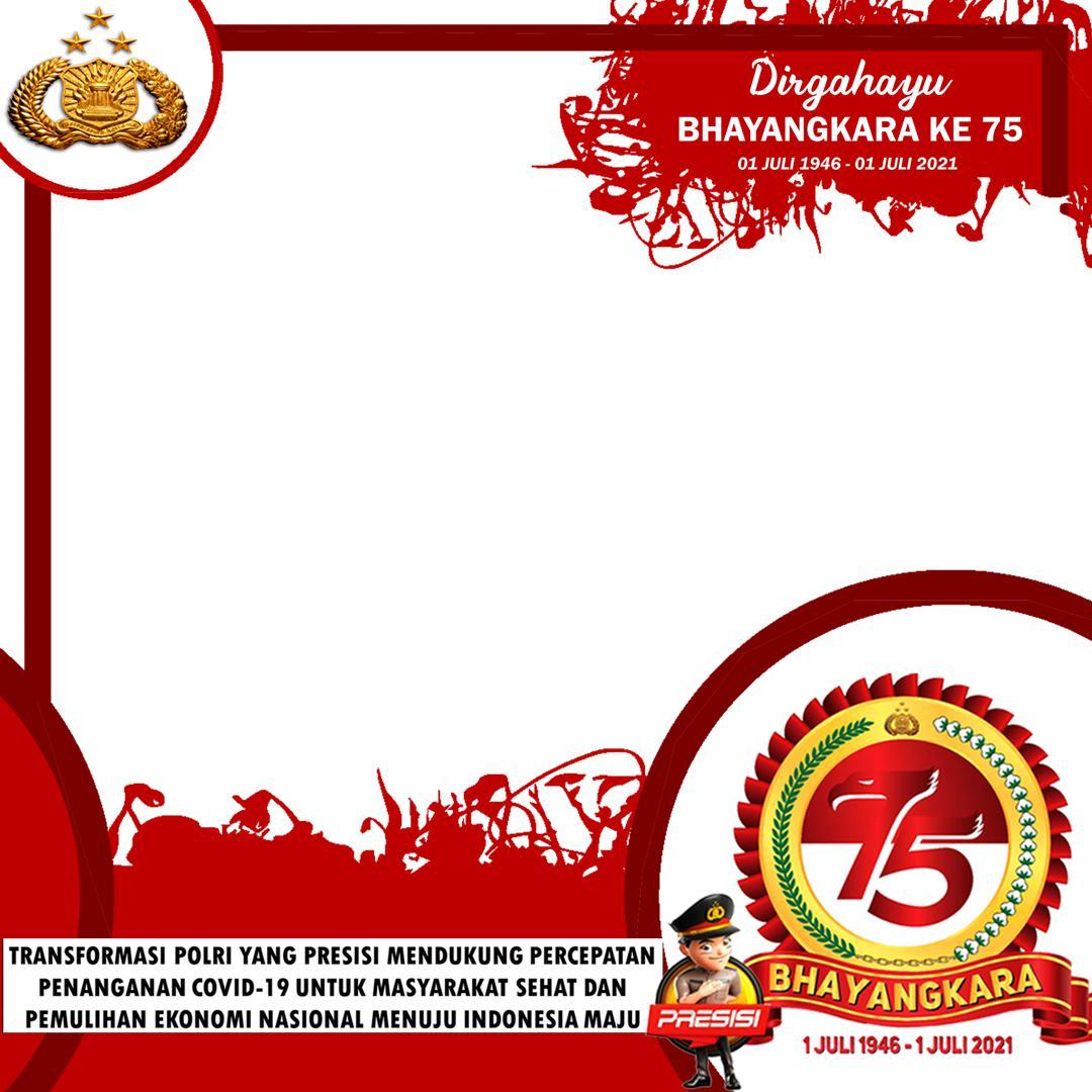 Frame Background Bingkai Foto Twibbon Ucapan Selamat Hari Ulang Tahun (HUT) ke-75 Bhayangkara 2021 - Dirgahayu Porli