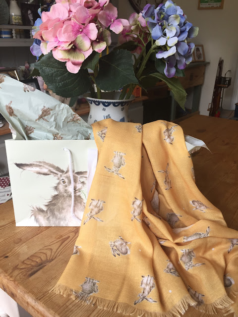 Mustard Leaping Hare Scarf from Wrendale