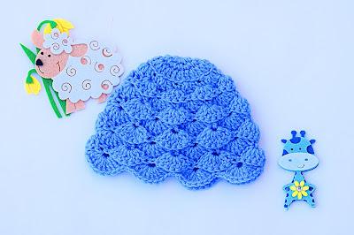 4-Imagen gorro chambrita de abanicos en relieve a crochet. Majovel crochet