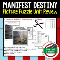 Manifest Destiny Picture Puzzle,  TEST PREP, UNIT REVIEWS, TEST REVIEWS, and STUDY GUIDES