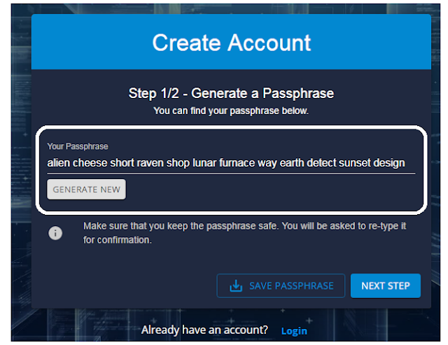 create passphrase DDKoin account