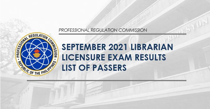 RESULT: September 2021 Librarian board exam list of passers
