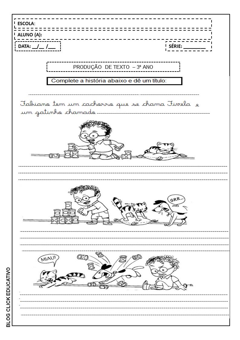 Producao De Texto Para Imprimir 3ºano Clicks Educativos