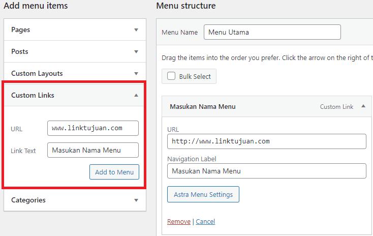 Cara Membuat Link di Menu WordPress