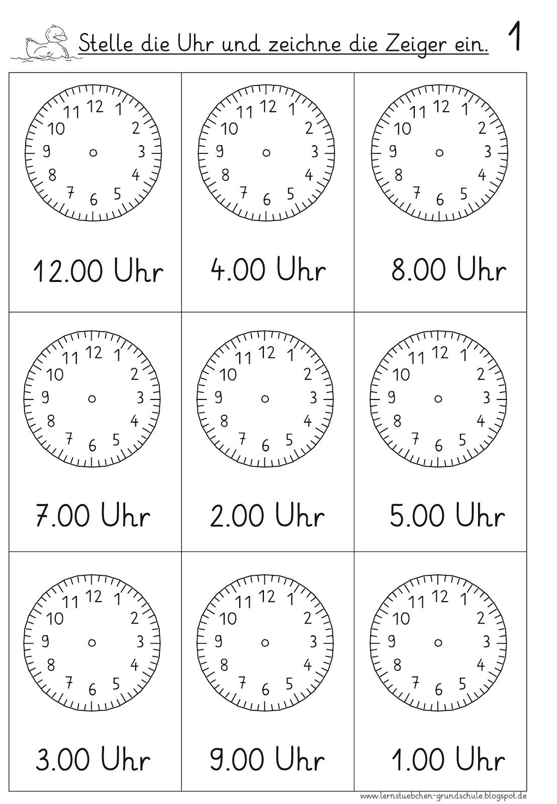 Lernstübchen: vorgegebene Uhrzeiten einstellen