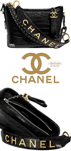 Brilliant Luxury♦Chanel Gabrielle Metallic Crocodile Embossed Calfskin Hobo Bag