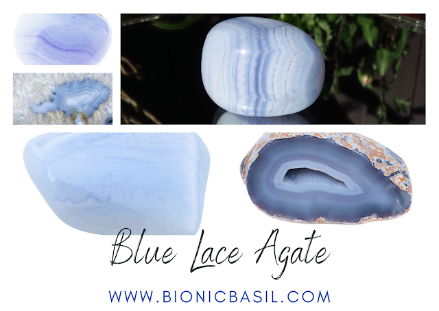 Colouring with Cats #127 ©BionicBasil® Crystal of The Week - Blue Lace Agate