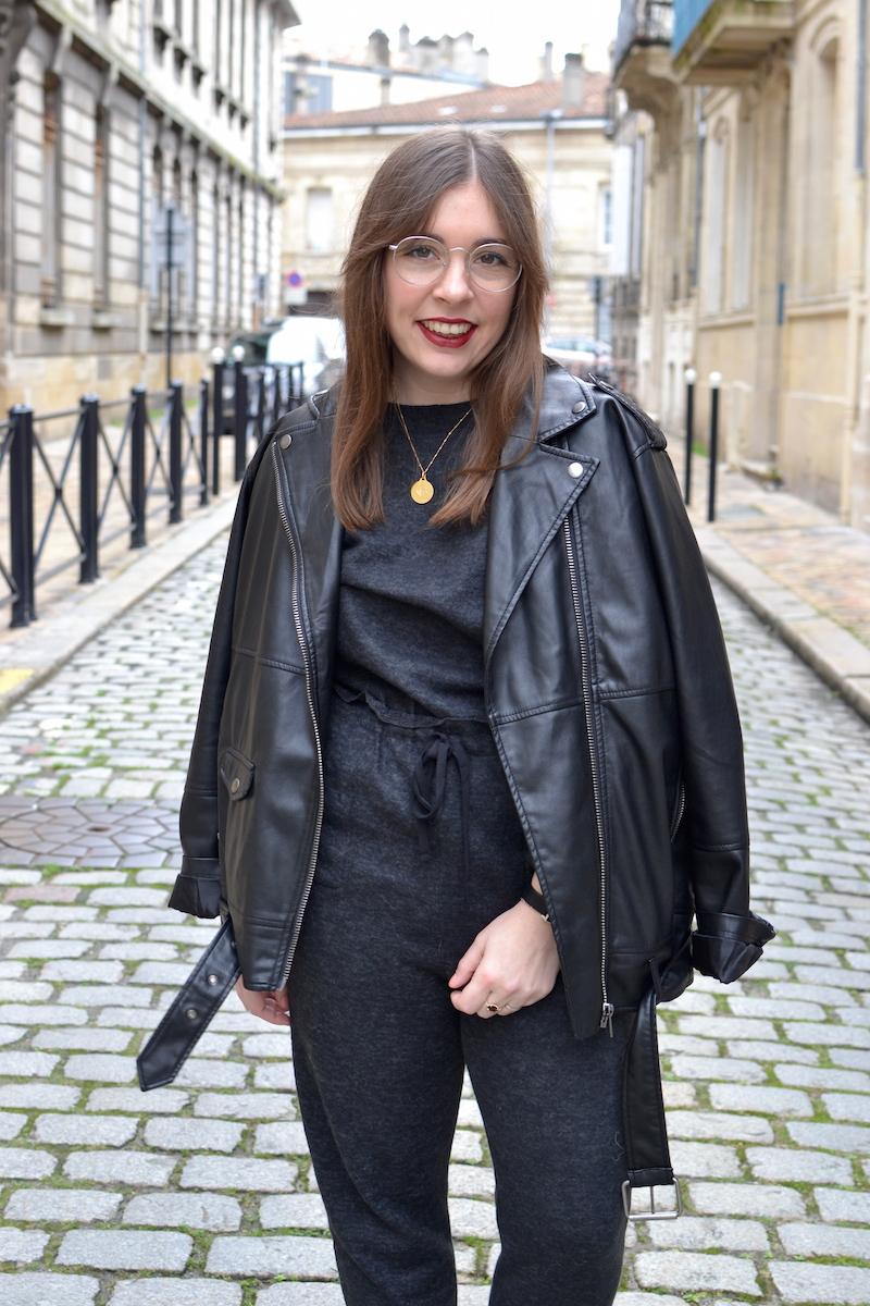 combinaison douce grise Zara, perfecto noir Monki