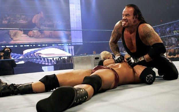 The Undertaker after a tombstone