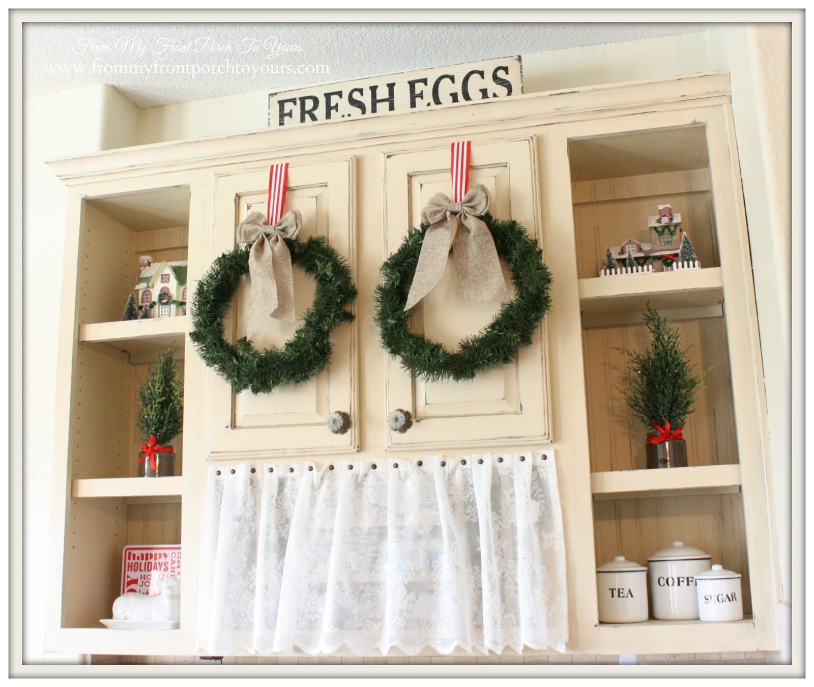 Christmas wreaths hanging from cabinet doors-French Farmhouse Christmas Kitchen- From My Front Porch To Yours