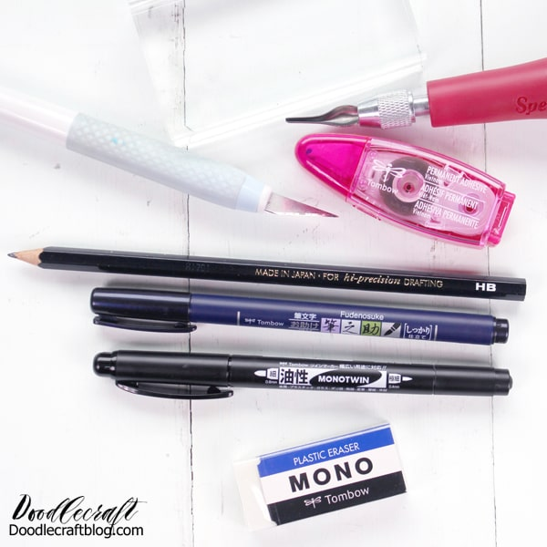 Supplies needed to carve a Rubber Stamp from a Tombow MONO Plastic Eraser DIY