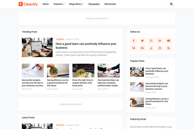 Cleanify - Responsive Blogger Template