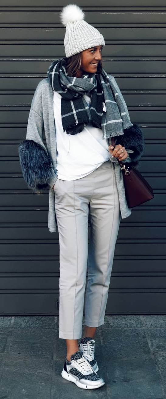 winter casual outfit inspiration / hat + plaid scarf + cardigan + white top + pants + sneakers