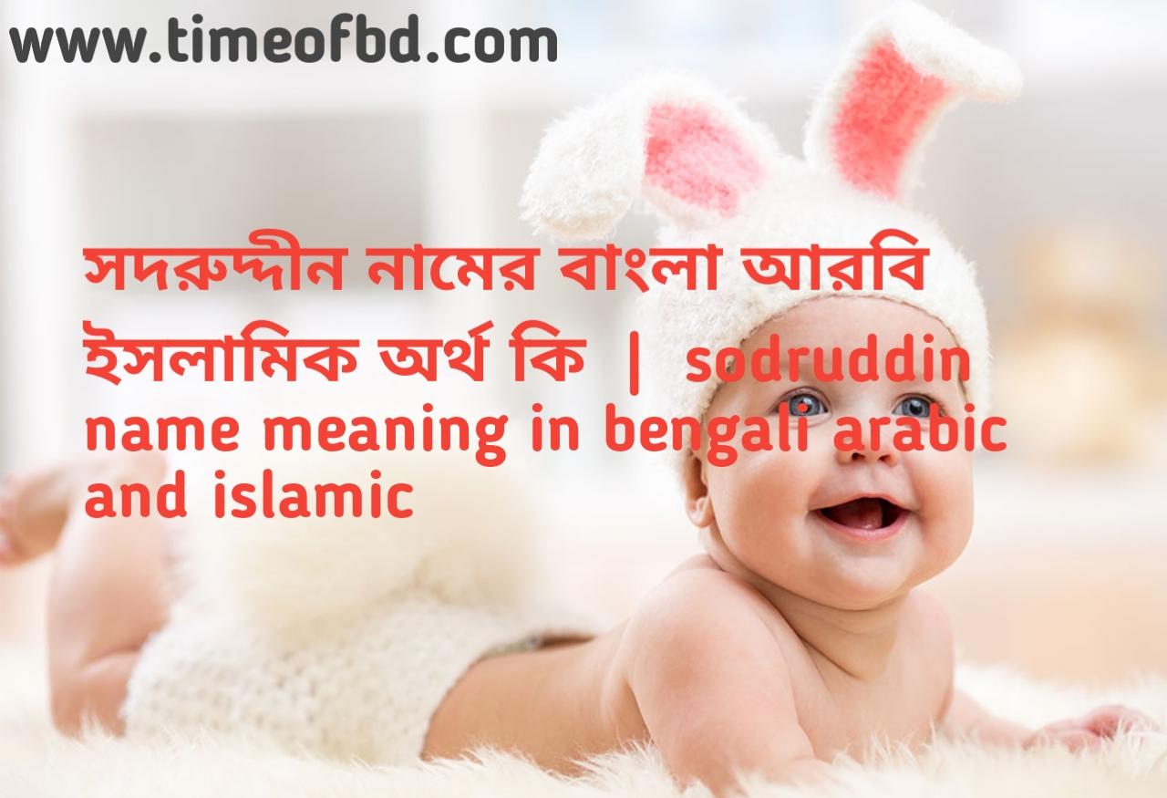সদরুদ্দীন নামের অর্থ কী,সদরুদ্দীন নামের বাংলা অর্থ কি,সদরুদ্দীন নামের ইসলামিক অর্থ কি, sodruddin  name meaning in bengali
