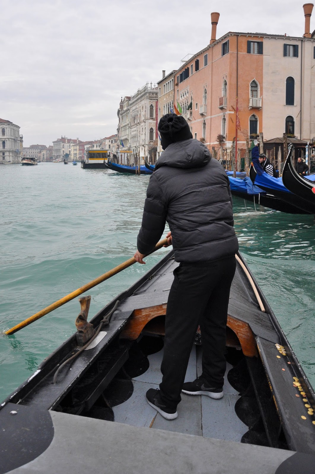 Rowing a traghetto on the Grand Canal, Venice, Italy