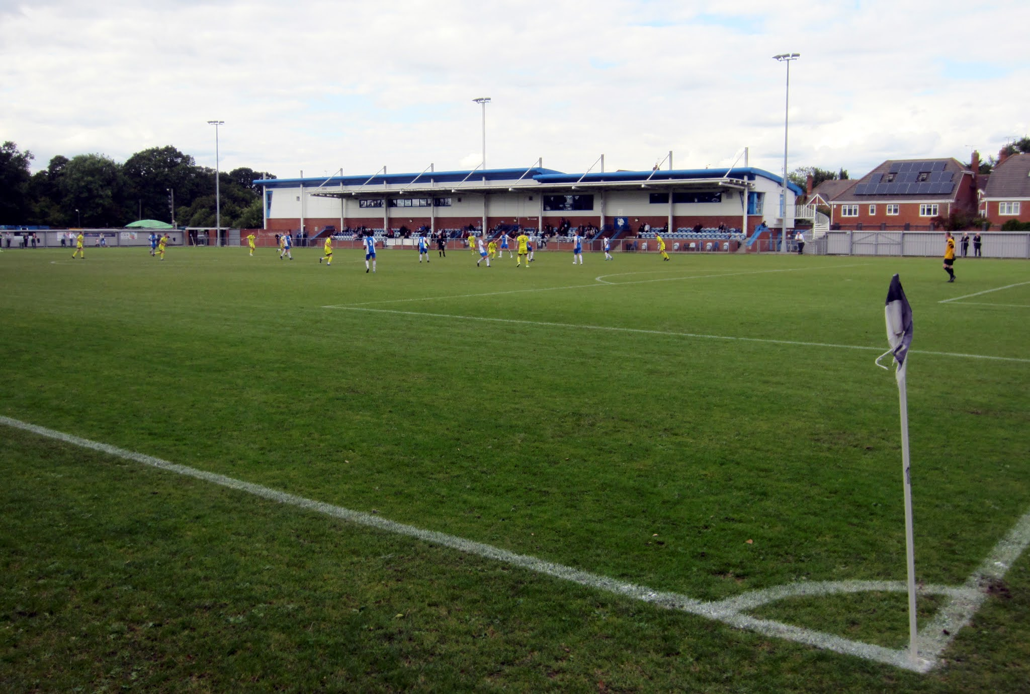 Looking towards the main stand at The Gore in Burnham