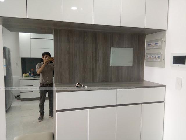 Hình thực tế thiết kế và thi công xây dựng thô đến hoàn thiện full nội thất căn hộ chung cư Saigon South Residences Phú Mỹ Hưng - SSR - Tủ giày