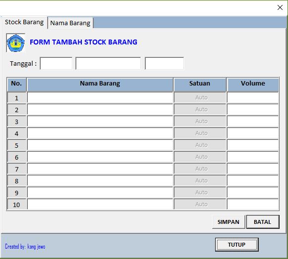 Download Aplikasi Stok Barang Dengan Excel