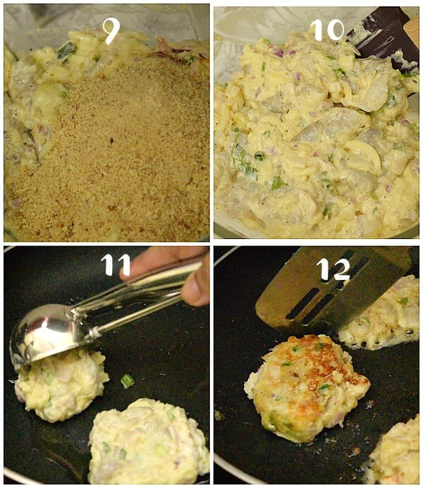 steps to make shrimp cakes - added breadedcrumbs to shrimp mix,scoop the shrimp mix and make patties on skillet to fry