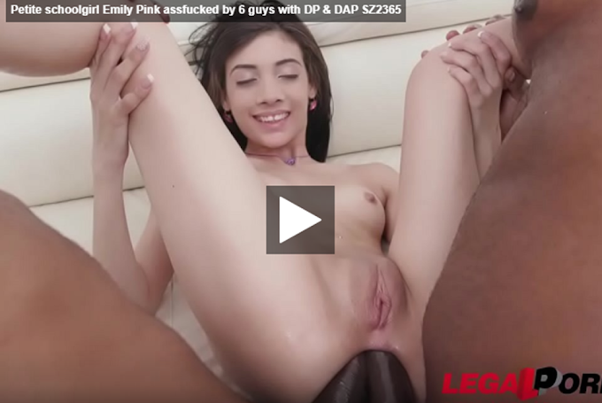 Petite schoolgirl Emily Pink assfucked by 6 guys with DP & DAP