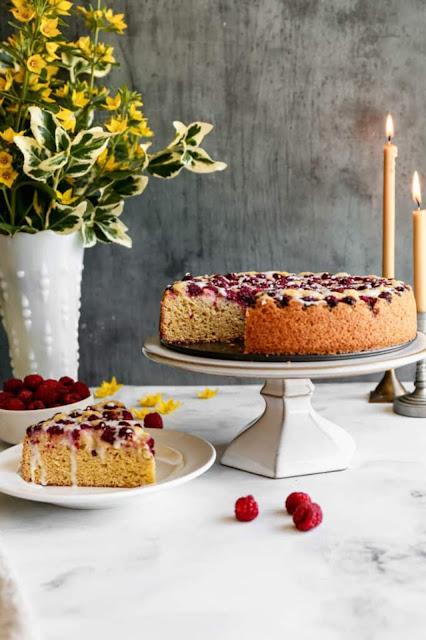 Gluten free raspberry cornmeal cake