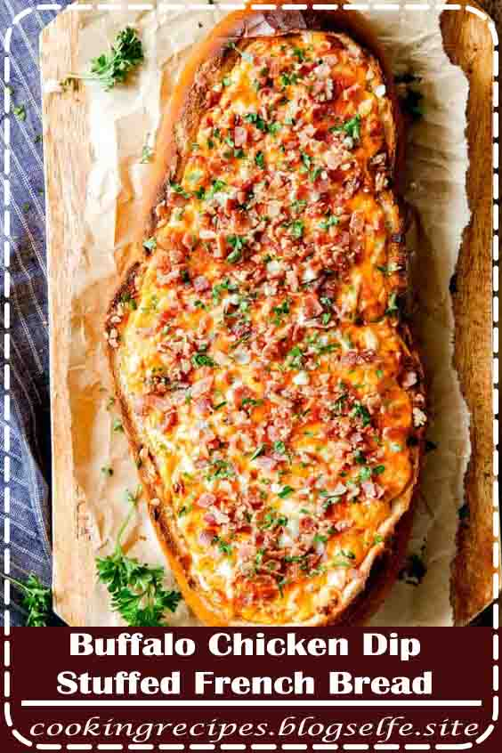 4.8 ★★★★★ | Mega flavorful Buffalo Chicken Dip Stuffed French Bread is your favorite creamy, cheesy, decadent dip baked right into the loaf with three cheeses all topped with crispy bacon!  Crazy delicious EASY crowd pleasing appetizer perfect for parties or game day!  Everyone will be begging you to make this!  #buffalo chicken dip #recipe #baked