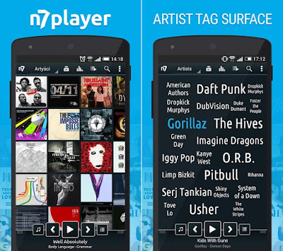 Tampilan Aplikasi n7player Music Player