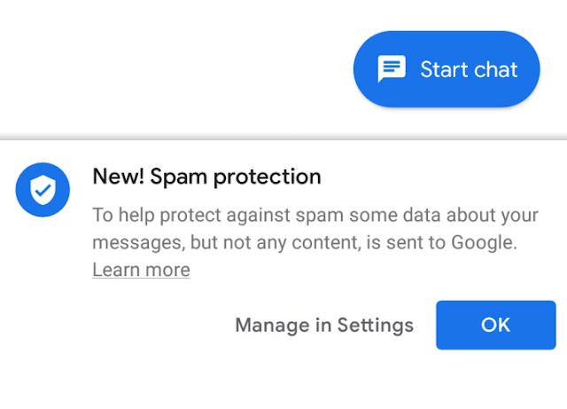يتم طرح ميزة الحماية من الرسائل غير المرغوب فيها من Google