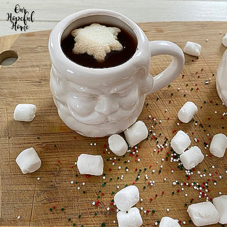 white Santa mug snowflake marshmallow topper mini marshmallows