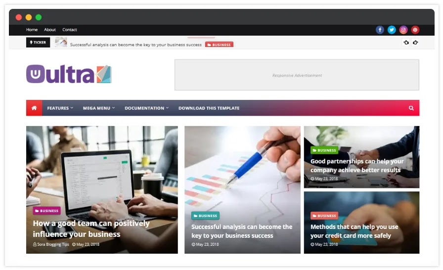 UltraMag is a Responsive Ultra-Fast Loading Blogger Template