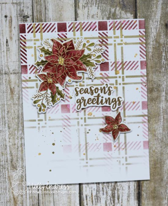Poinsettia Card by Holly Endress | Poinsettia Blooms Stamp Set and Plaid Stencil Set by Newton's Nook Designs #newtonsnook #handmade
