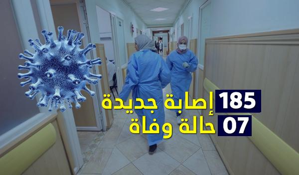 7 حالات وفاة و 185 إصابة جديدة بفيروس كورونا