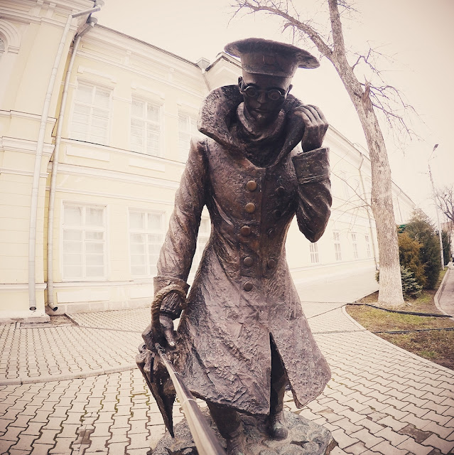 """Monument to the character of Chekhov's story """"A Man in a Case""""."""