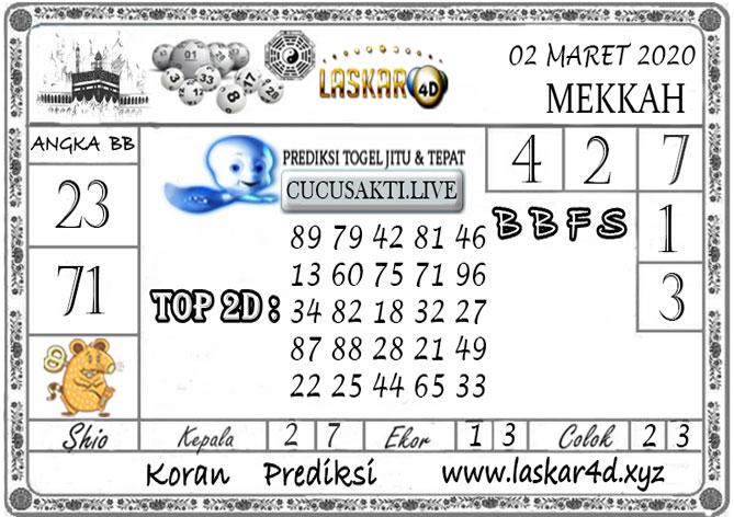 Prediksi Togel MEKKAH LASKAR4D 02 MARET 2020