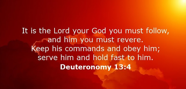 It is the Lord your God you must follow, and him you must revere. Keep his commands and obey him; serve him and hold fast to him.