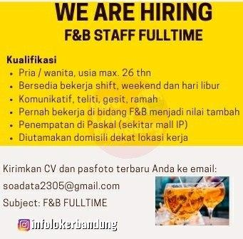 Lowongan Kerja F&B Staff Fulltime Paskal Bandung Januari 2020