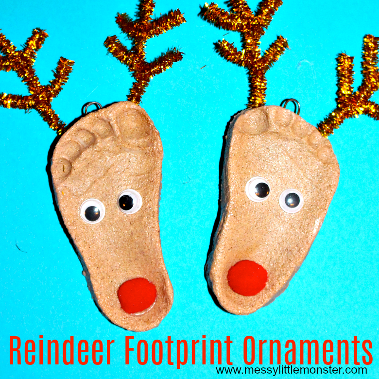 Reindeer Footprint Craft - Salt Dough Ornaments