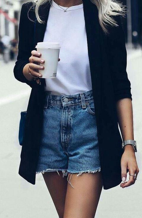 stylish look_black long blazer + tee + denim shorts