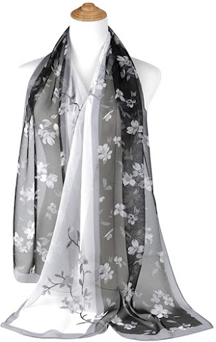 Floral Print Black Chiffon Scarves Shawls