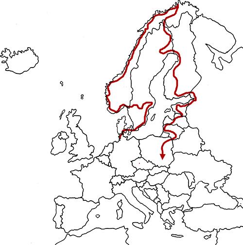 Route through Europe