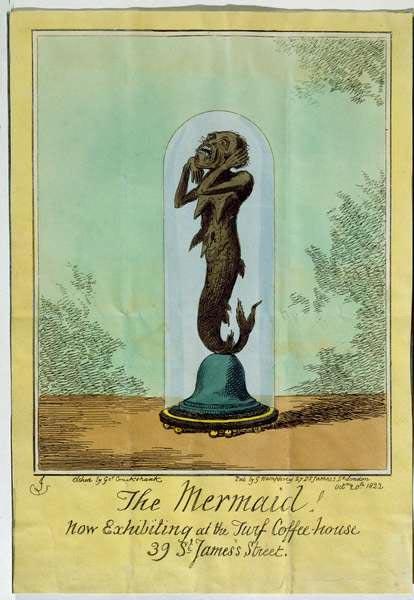 Ilustración de la criatura que sería conocida más tarde como la sirena de Fiji, tal como aparece en un folleto encargado por el capitán de navío estadounidense Samuel Barrett Eades.