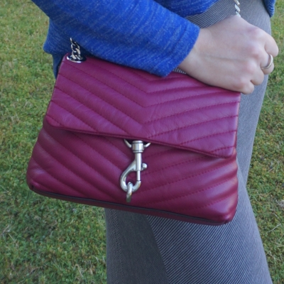 pinstripe grey maxi skirt with Rebecca Minkoff Edie small crossbody bag in magenta | away from the blue