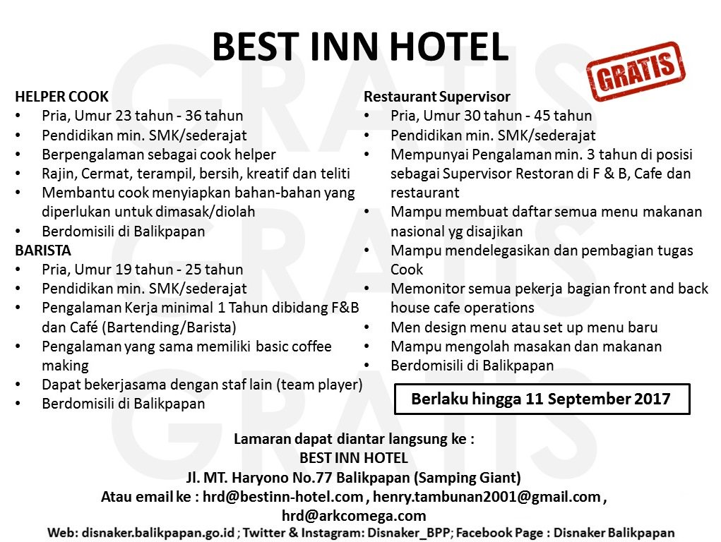 Lowongan Kerja Best Inn Hotel Balikpapan Lokernesia