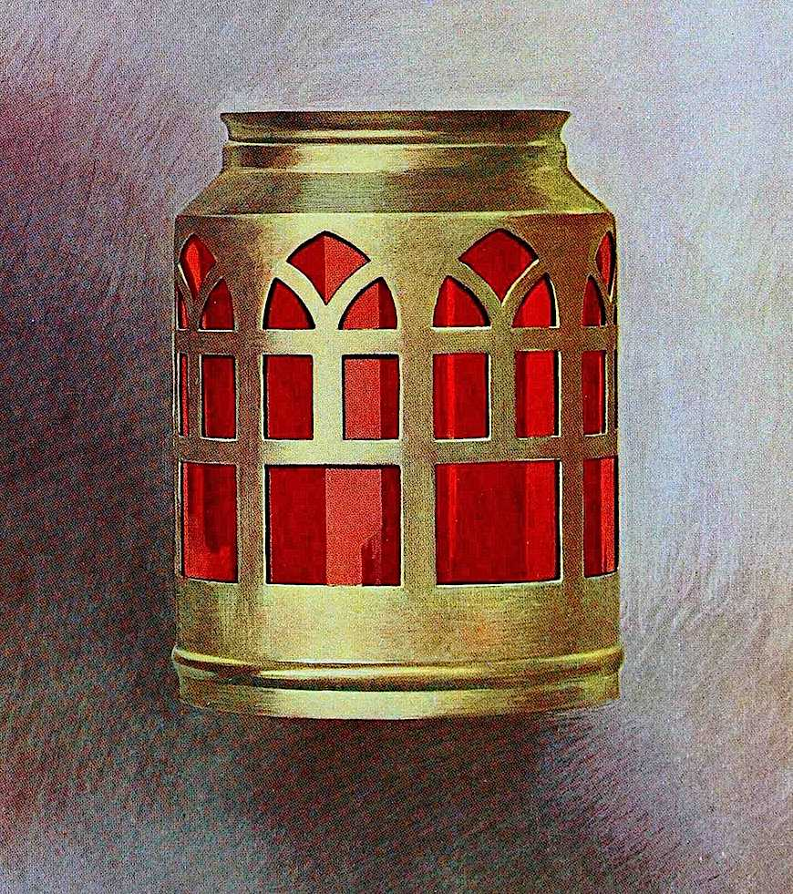 color illustration of a 1912 exterior lamp with red glass