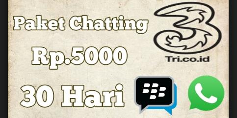 Paket Internet Chatting 3 Tri Sebulan 5000 Unlimited terbaru