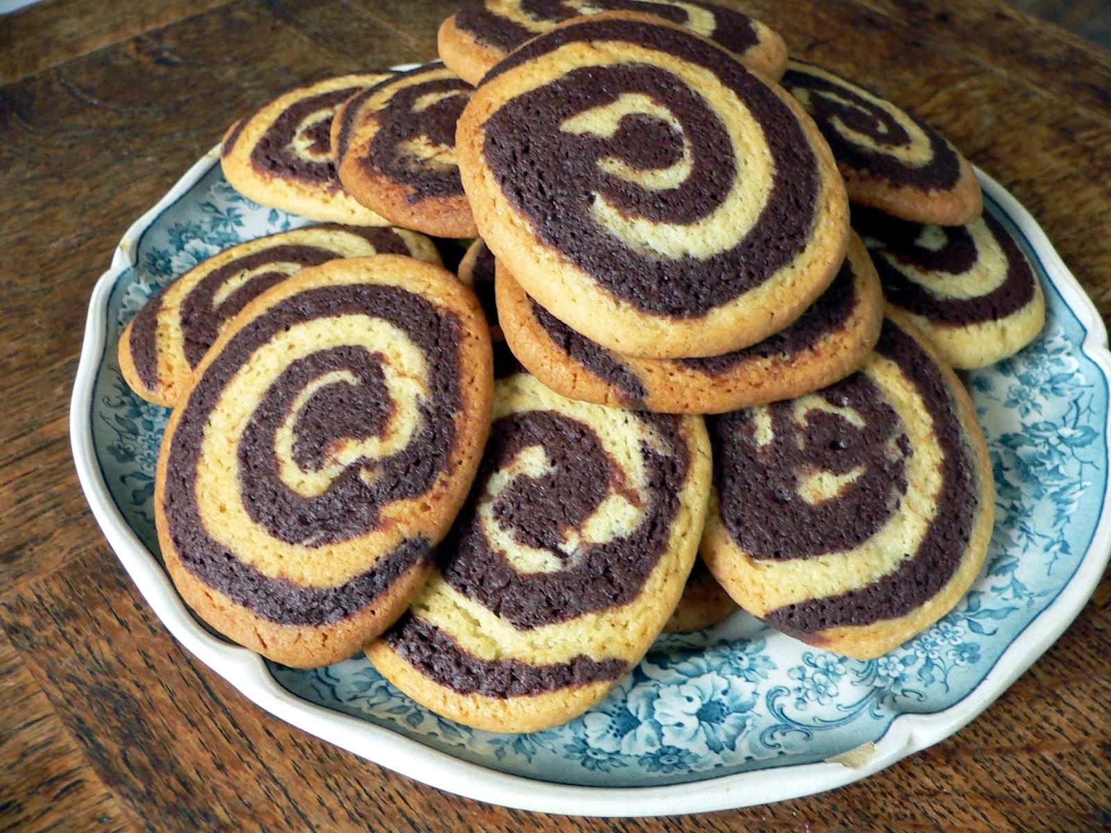 Chocolade vanille spiraal koekjes