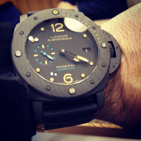 The  Carbotech model at a men's wrist.
