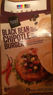 A box of Season's Choice Chipotle Black Bean Burgers, from Aldi