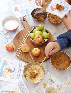 DIY Caramel Apple Station, perfect as an interactive fall desserts bar, for a fun snack time, Thanksgiving or after-school treat! by BirdsParty.com @birdsparty