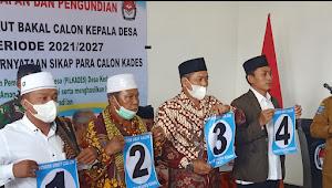 Pelaksanaan pencabutan nomor urut dan pemaparan visi misi Balon Kades Kedaro berjalan singkat
